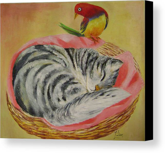 Naive Canvas Print featuring the painting Red Bird by Lian Zhen