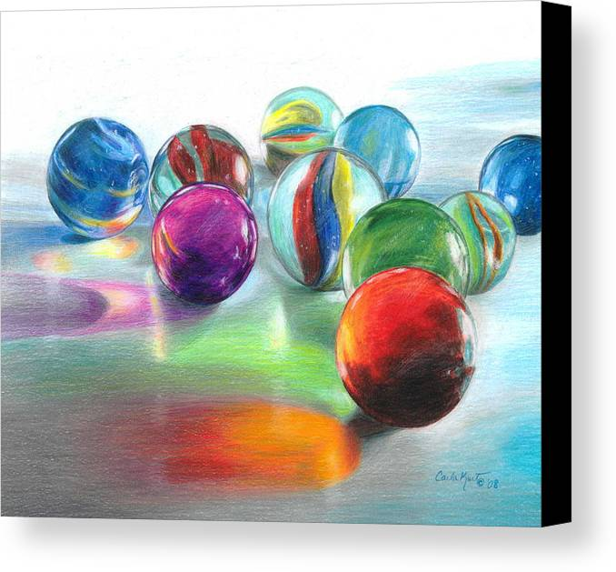 Marbles Canvas Print featuring the drawing Red Marble Reflections by Carla Kurt