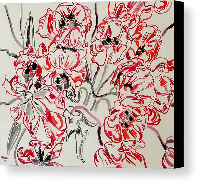 Red Canvas Print featuring the painting Red Tulips by Vitali Komarov