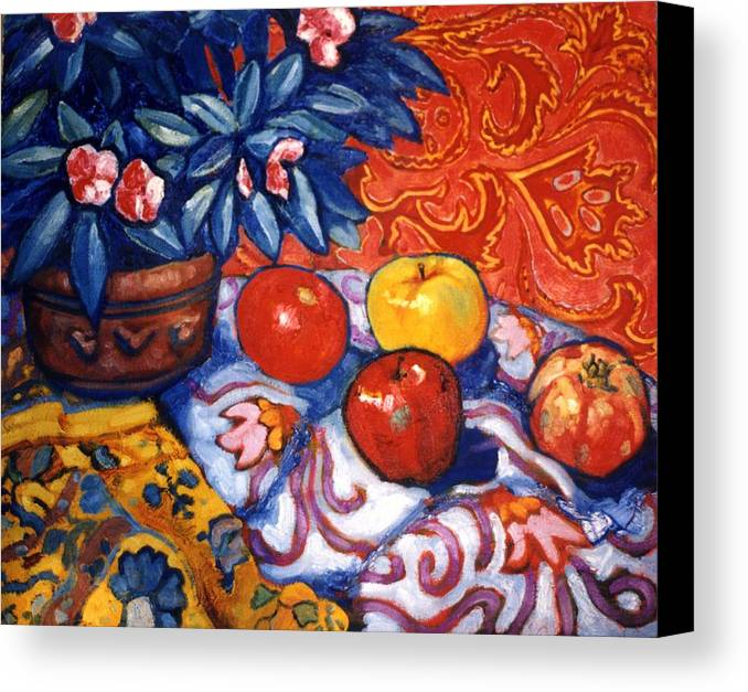 Still Life Canvas Print featuring the painting Red Wallpaper by Paul Herman