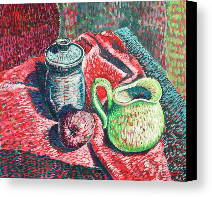 Still Life Canvas Print featuring the painting Richards Pitcher In Green by Rollin Kocsis