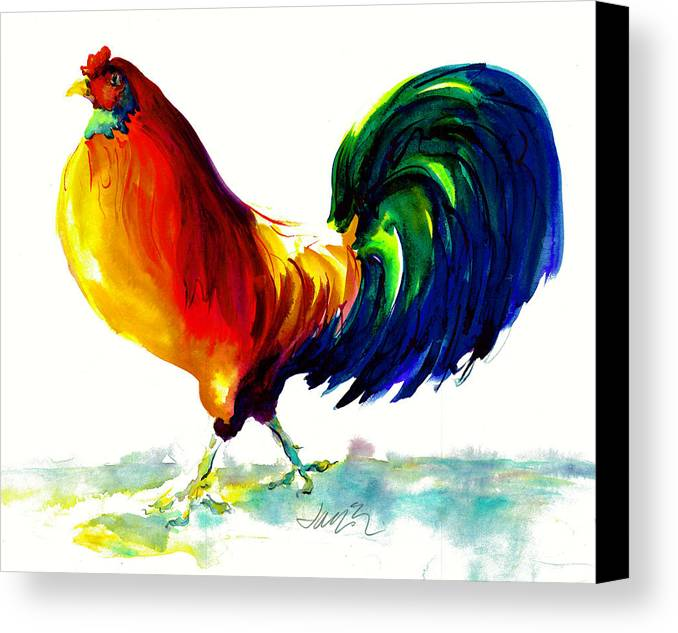 Painting With Exaggerated Colors Canvas Print featuring the painting Rooster - Big Napoleon by Jacki Kellum