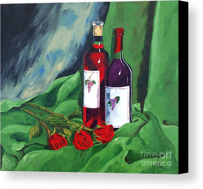 Wine And Roses Red Roses Red Wine Still Life Canvas Print featuring the painting Roses And Wine by Herschel Fall