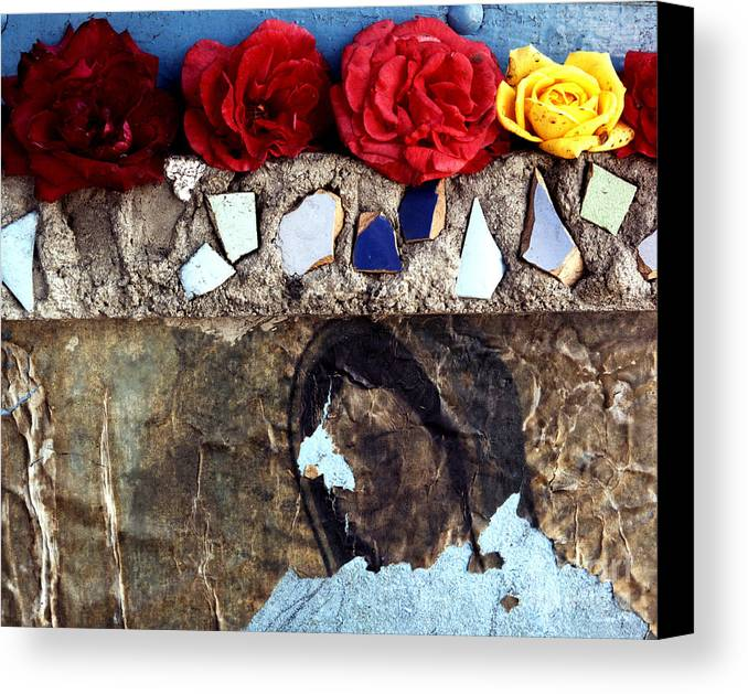 Virgin_mary Canvas Print featuring the photograph Roses On A Shrine by Lawrence Costales