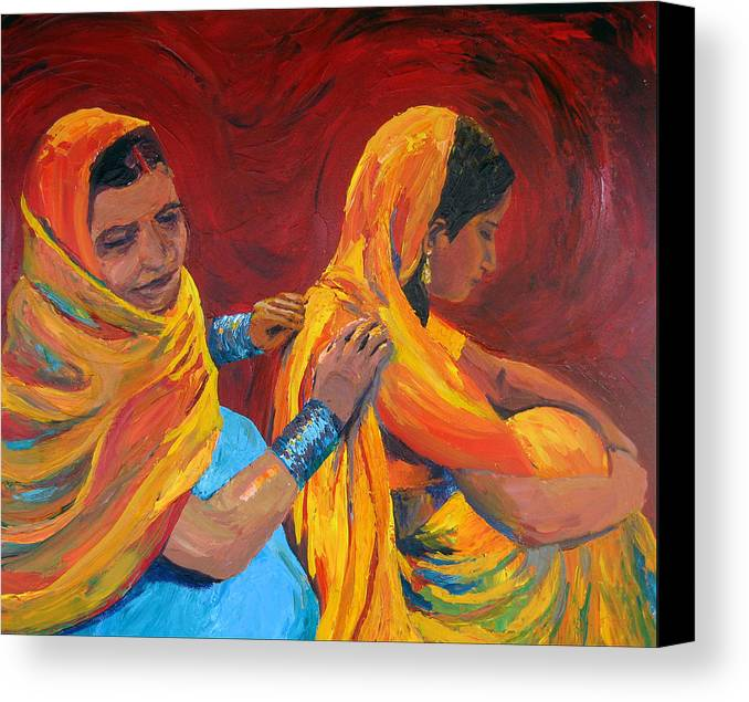 India Canvas Print featuring the painting Ruppa by Art Nomad Sandra Hansen