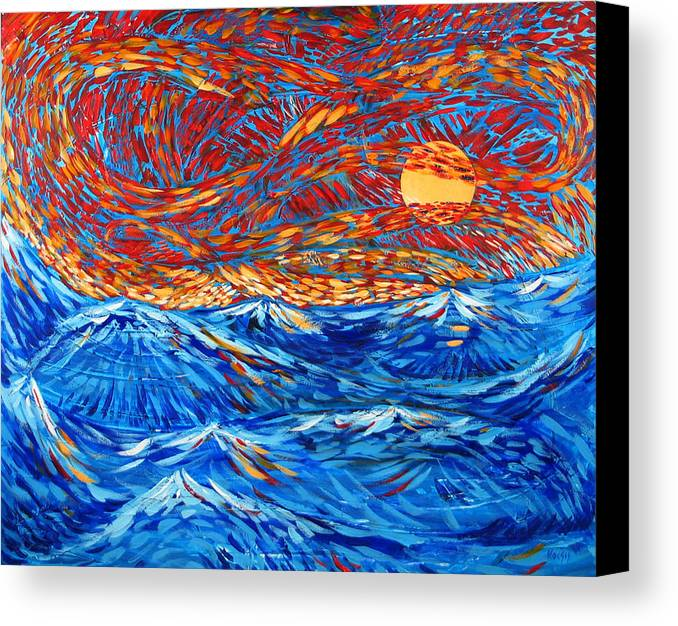 Seascape Canvas Print featuring the painting Sea Scene by Rollin Kocsis