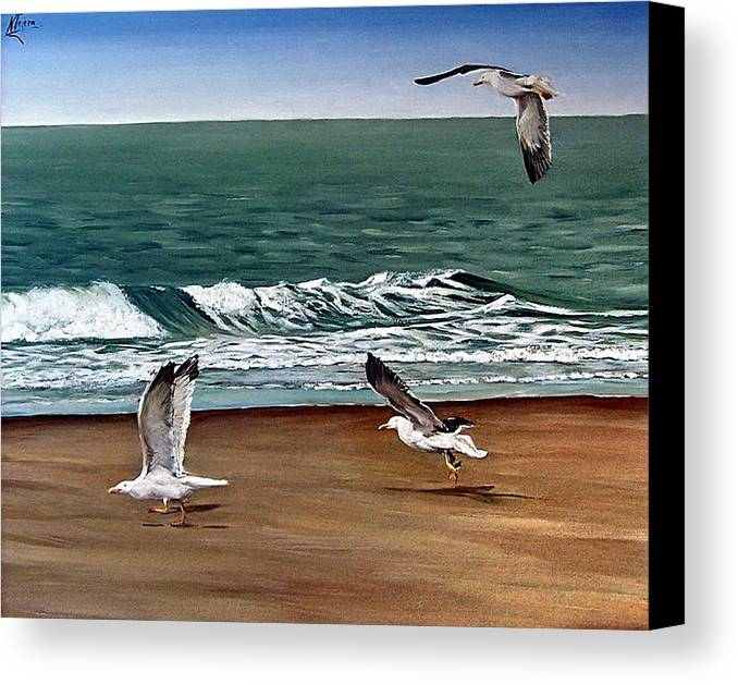 Seascape Canvas Print featuring the painting Seagulls 2 by Natalia Tejera