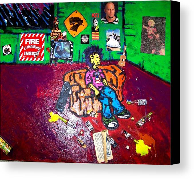 Room Canvas Print featuring the mixed media Shawns Room by Mike Naze
