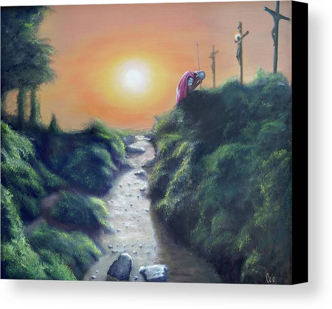 Cross Canvas Print featuring the painting Soldier At The Cross by Larry Cole