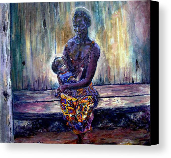 Baby Painting Canvas Print featuring the painting Solemn Momemts by Tommy Winn