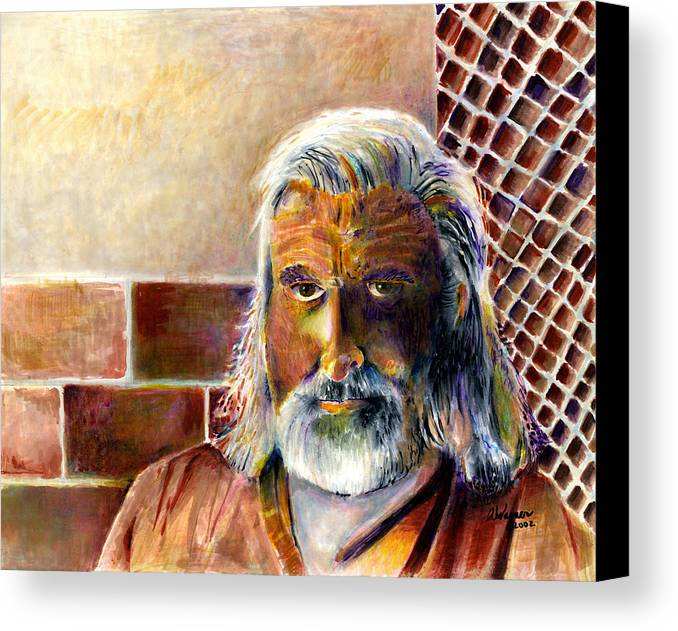 Man Canvas Print featuring the painting Solitary by Arline Wagner