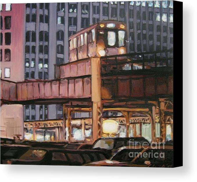Christopher T. Buoscio Canvas Print featuring the painting South Loop El by Christopher Buoscio