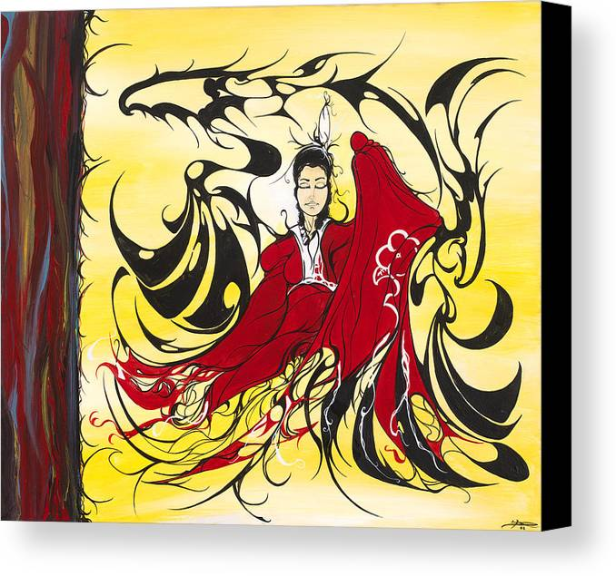 Native Canvas Print featuring the painting Stay Focused by Dallas Poundmaker