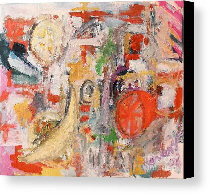 Stil Life Canvas Print featuring the painting Still Life With Banana And Orange by Michael Henderson