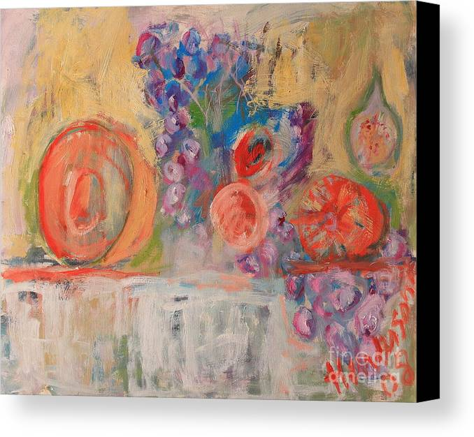 Stil Life Canvas Print featuring the painting Still Life With Melon And Fig by Michael Henderson