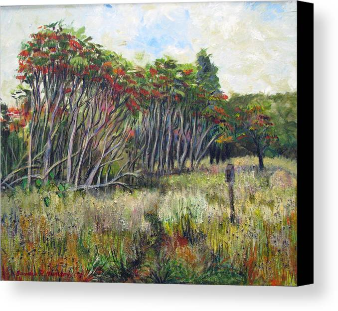 Fall Canvas Print featuring the painting Sumac Fall by Art Nomad Sandra Hansen