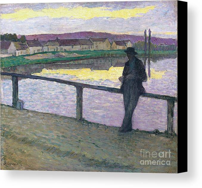Sunset On Pont-aven (young Man In Front Of The Sea) Canvas Print featuring the painting Sunset On Pont by MotionAge Designs