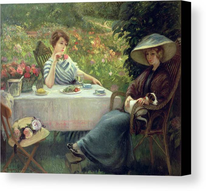 Tea Canvas Print featuring the painting Tea Time by Jacques Jourdan