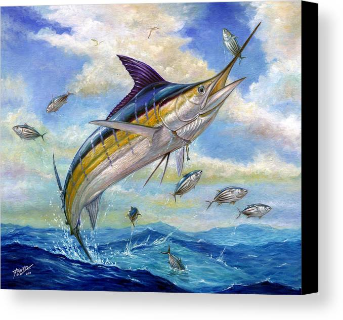 Blue Marlin Canvas Print featuring the painting The Blue Marlin Leaping To Eat by Terry Fox