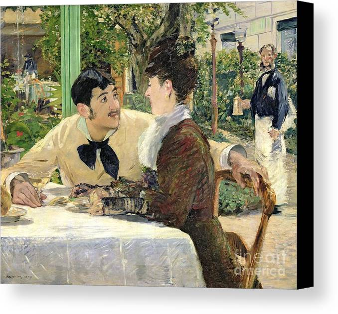 The Canvas Print featuring the painting The Garden Of Pere Lathuille by Edouard Manet