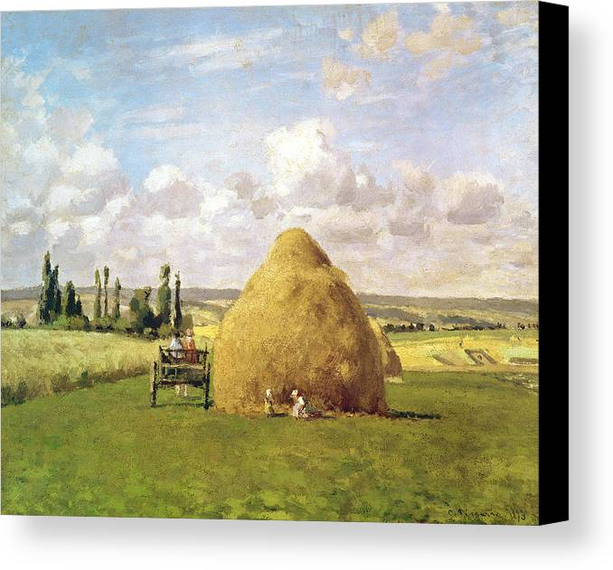 The Canvas Print featuring the painting The Haystack by Camille Pissarro