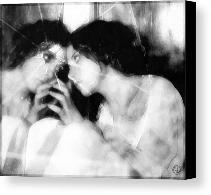 Girl Looking In Mirrow Canvas Print featuring the digital art The Mirror Twin by Gun Legler