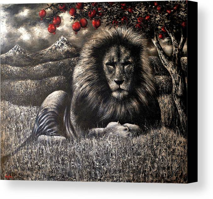 Lion Canvas Print featuring the painting The Pride by Hayk Matsakyan