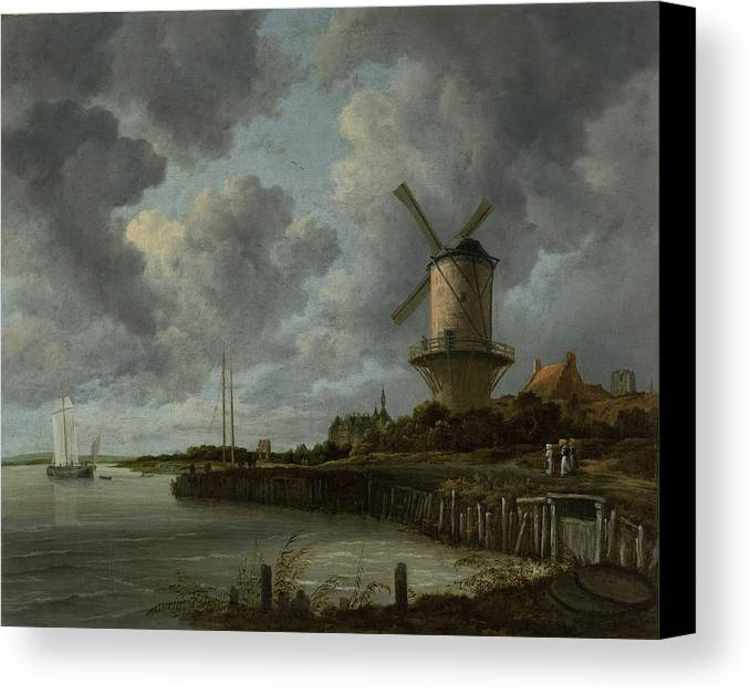 Windmill Canvas Print featuring the painting The Windmill At Wijk Bij Duurstede 1668-1670 by Jacob Isaacksz van Ruisdael