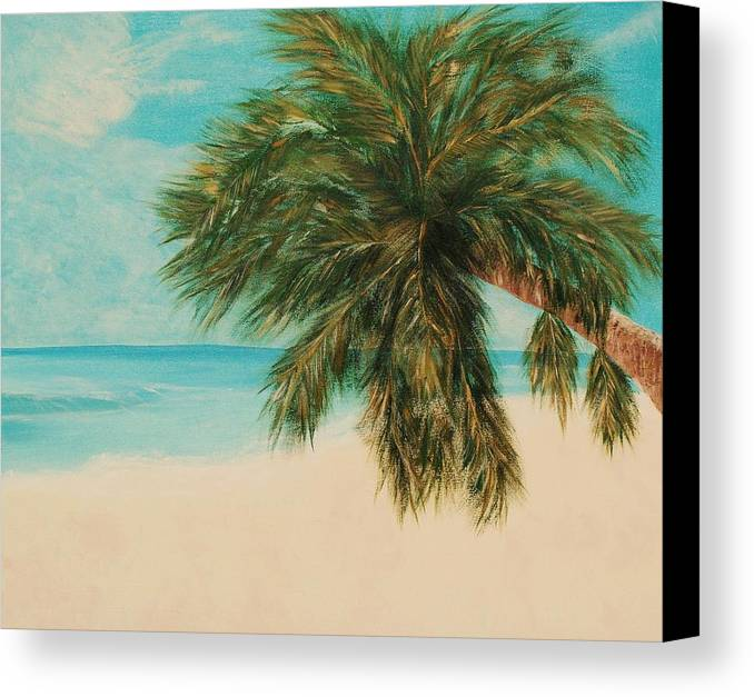 Seascape Canvas Print featuring the painting Thommy S Beach by Ofelia Uz