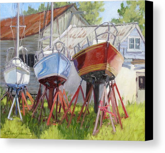 Sail Boats Canvas Print featuring the painting Three Up by L Diane Johnson