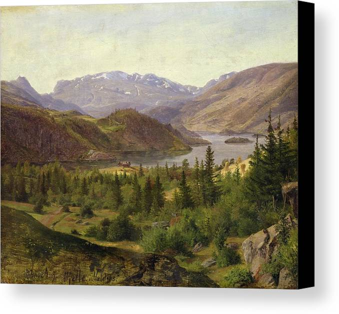 Hjelle Canvas Print featuring the painting Tile Fjord by Louis Gurlitt