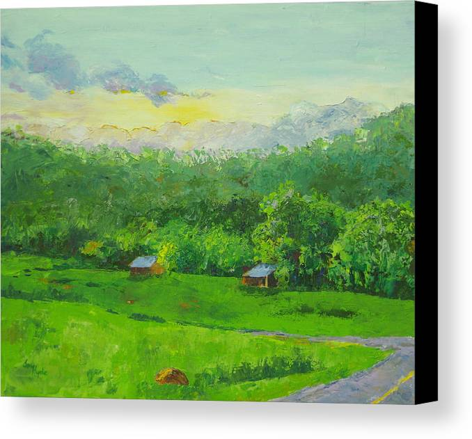 Landscape Canvas Print featuring the painting Tyler Bend by Joy Hyde