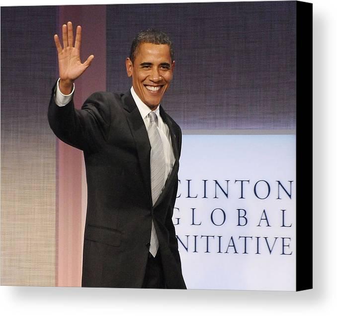 U.s. President Barack Obama Canvas Print featuring the photograph U.s. President Barack Obama At A Public by Everett