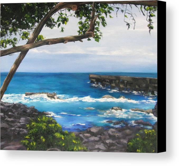 Ocean;hawaii; Trees; Piers; Lava; Big Island; Tropics; Blues Canvas Print featuring the painting Whittington Beach Park Big Island Hawaii by Denise Lockhart Bush