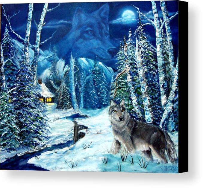 Wolf Canvas Print featuring the painting Winters Night 2 by Darlene Green