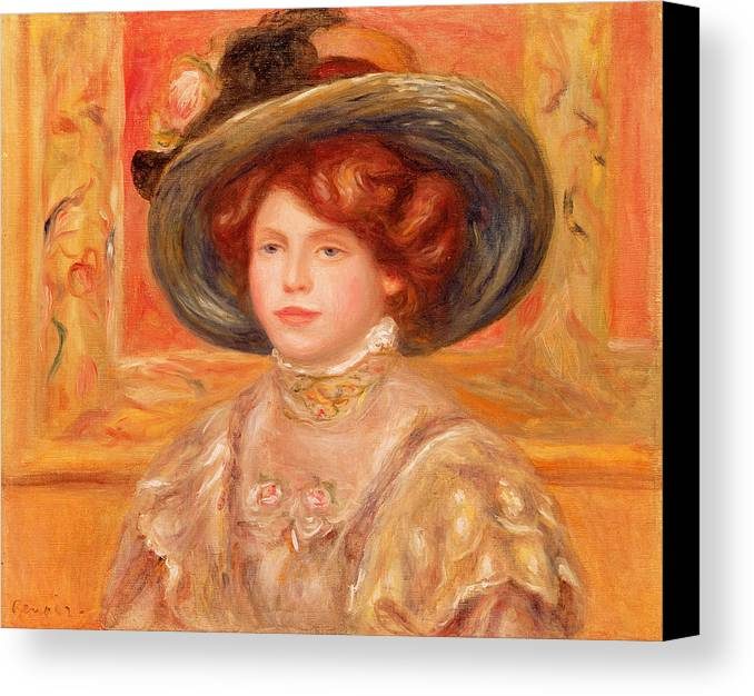 Young Canvas Print featuring the painting Young Woman In A Blue Hat by Pierre Auguste Renoir