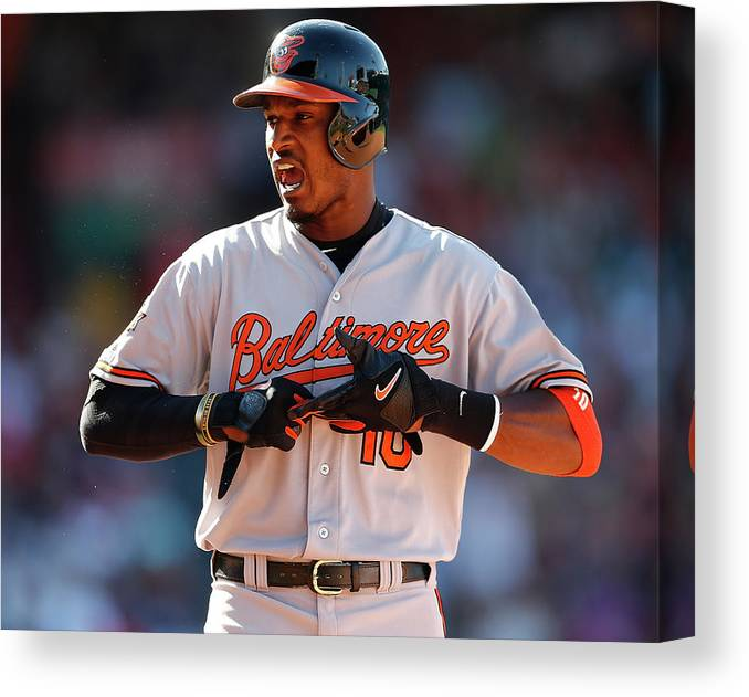 American League Baseball Canvas Print featuring the photograph Baltimore Orioles V Boston Red Sox 9 by Jim Rogash