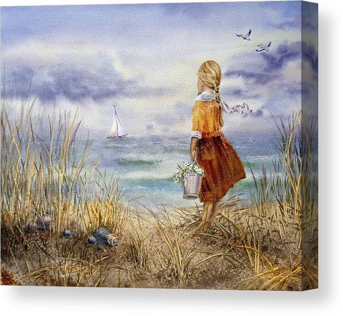 Girl And The Ocean Canvas Print featuring the painting A Girl And The Ocean by Irina Sztukowski