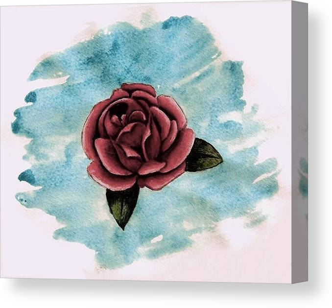 Rose Canvas Print featuring the painting A Single Rose by Ally Mueller
