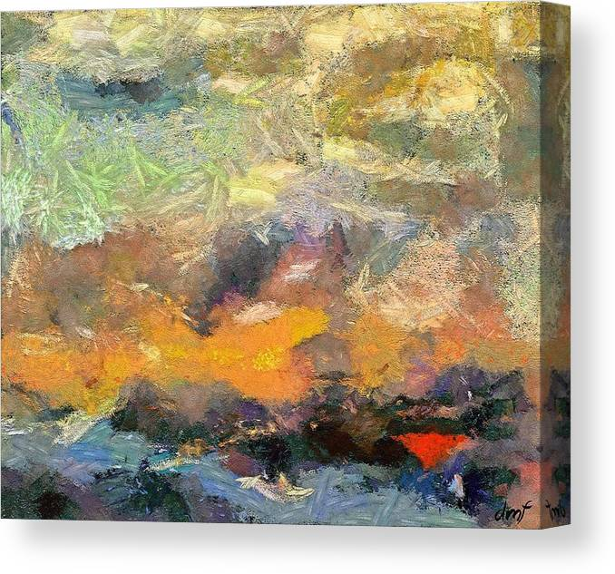 Abstract Art Canvas Print featuring the painting Abstract Landscape II by Dragica Micki Fortuna
