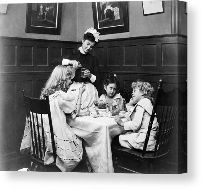 1890 Canvas Print featuring the photograph Children, 1900 by Granger