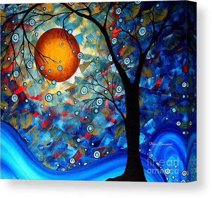 Abstract Canvas Print featuring the painting Contemporary Modern Art Original Abstract Landscape Painting Blue Essence By Megan Duncanson by Megan Duncanson