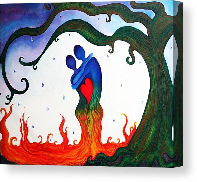 Abstract Canvas Print featuring the painting Cryin Tears Of Love by Laura Barbosa
