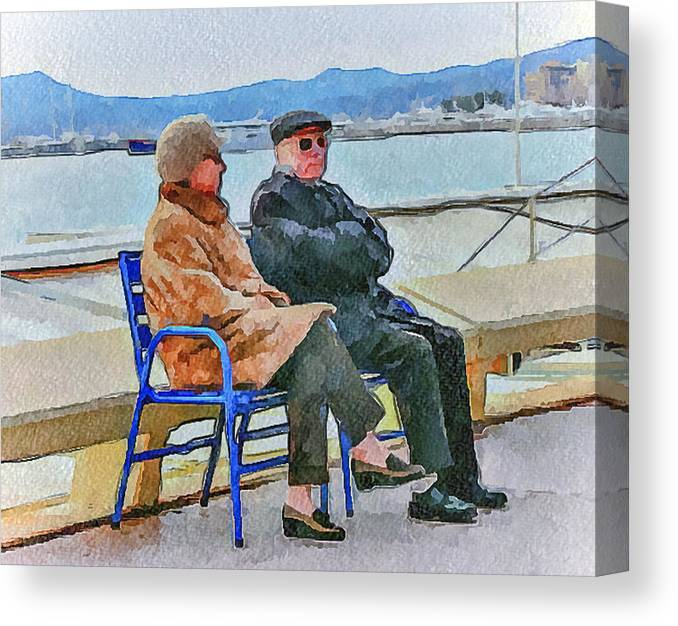 Nice Canvas Print featuring the digital art Enjoying Late Fall In Cannes by Yury Malkov