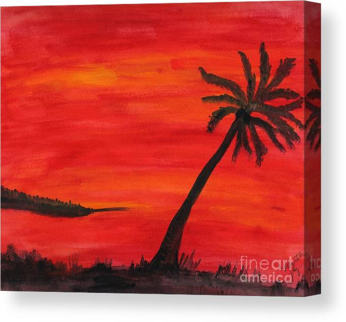 Landscape - Scenery - Red & Yellow Sunset Sky With Palm Tree In Foreground; Orange Black Gray Pink Canvas Print featuring the painting Florida Sunset II by Myrtle Joy