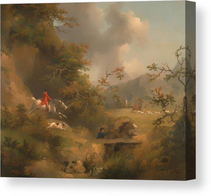 Painting Canvas Print featuring the painting Fox Hunting In Hilly Country by Mountain Dreams