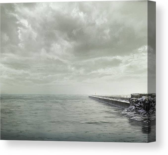 Lake Michigan Canvas Print featuring the photograph Frozen Jetty by Scott Norris