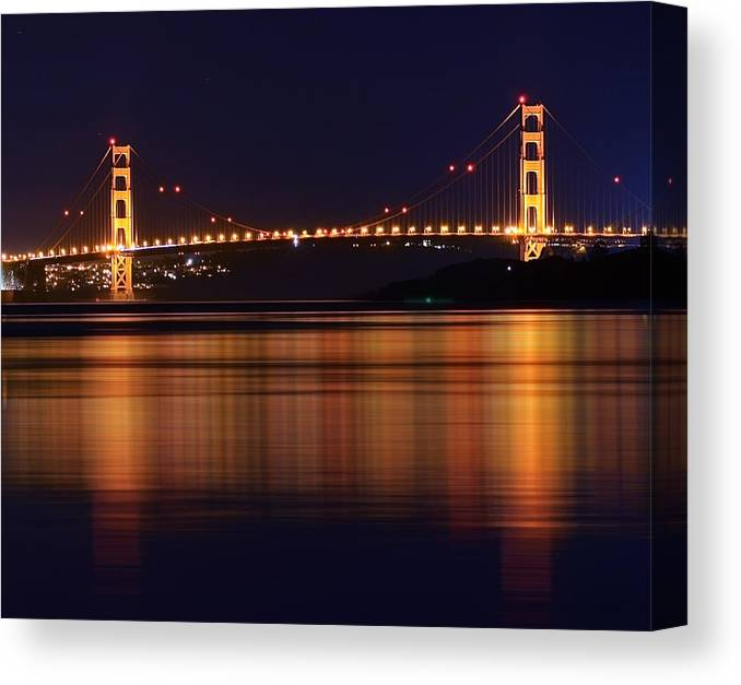 Canvas Print featuring the photograph Golden Gate Bridge After Dark by Kevin Whitworth