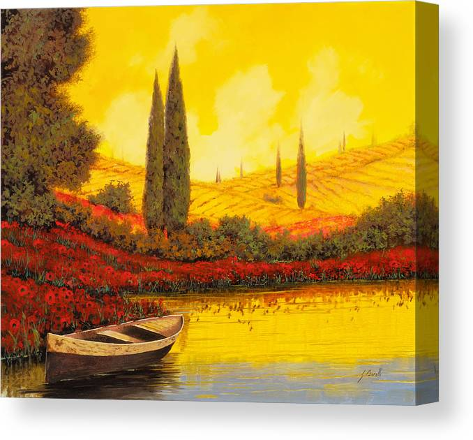 Sky Yellow Canvas Print featuring the painting La Barca Al Tramonto by Guido Borelli