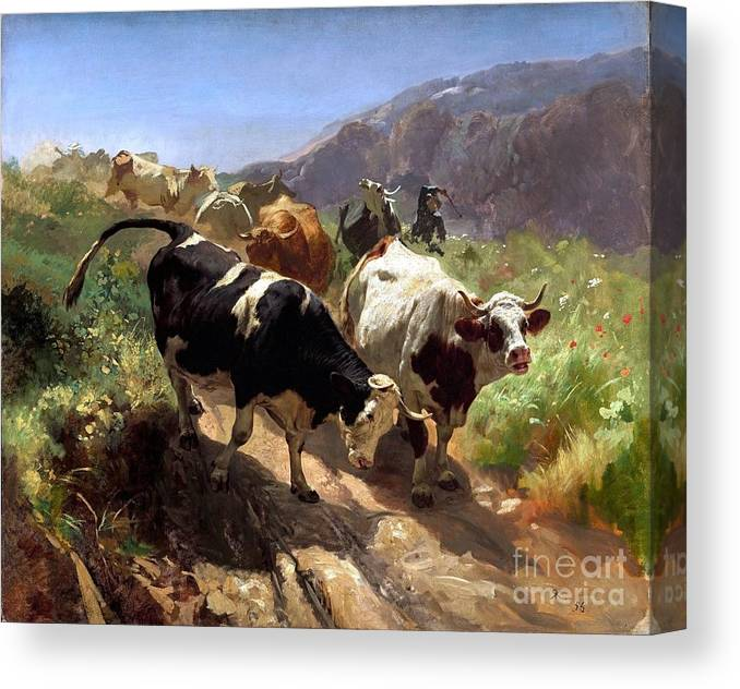 U.s.ps: Pd-art: Reproduction Canvas Print featuring the painting Leaving The Mountains by Pg Reproductions